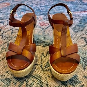 MIU MIU PRADA TAN LEATHER WEDGE ESPADRILLES 38
